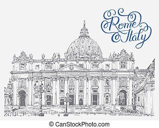 St. Peter's Cathedral, Vatican with original hand lettering insc