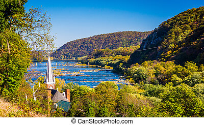 St. Peters Roman Catholic Church and the Potomac River, seen from Jefferson Rock in Harper's Ferry, West Virginia.