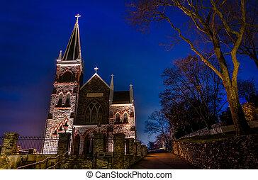 St. Peter's Roman Catholic Church at night, Harper's Ferry, WV.