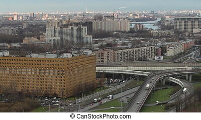 St. Petersburg aerial view time lapse camera motion