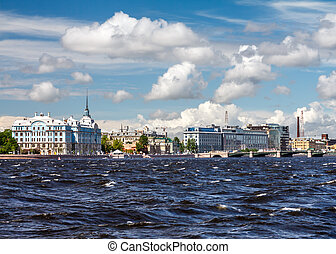 St. Petersburg in a sunny windy summer day