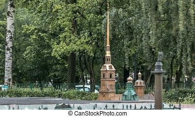 St. Petersburg. Mini City in the Alexander Park timelapse....