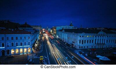 St. Petersburg, Nevsky prospekt traffic. Timelapse