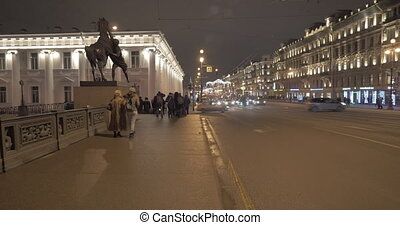 St. Petersburg night view with Nevsky Prospect and Anichkov...