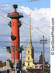 st.. petersburg, -, rostral, kolonne, og, katedral, inl,...