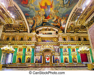 ST. PETERSBURG, RUSSIA FEDERATION - JUNE 29:Interior of Saint Isaac's Cathedral in St Petersburg, Russia . Picture takes in Saint-Petersburg, inside Saint Isaac's Cathedral  on June 29, 2012.