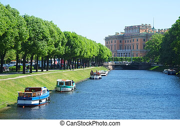boat on a Moika river - St. Petersburg, Russia, June, 7,...