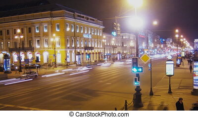 St. Petersburg, Russia, Nevsky Prospect time lapse