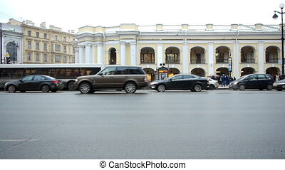 SAINT PETERSBURG, RUSSIA - FEBRUARY,19: Traffic at Nevsky prospect on February 19, 2013, Saint Petersburg, Russia. Nevsky prospect is the central street of Saint Petersburg with many landmarks on it
