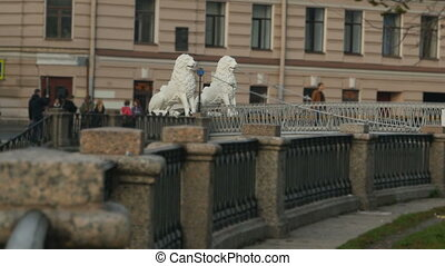Bridge is decorated with sculptures of lions - St....