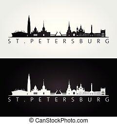 St. Petersburg skyline and landmarks silhouette