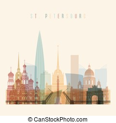 St. Petersburg skyline detailed silhouette.