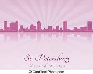 St Petersburg skyline in purple