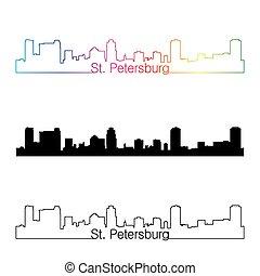 St. Petersburg skyline linear style with rainbow