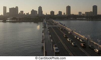 St. Petersburg Sunset - Time lapse beautiful sunset behind...