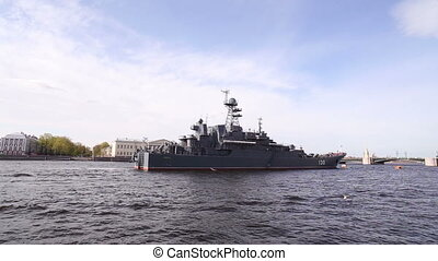 St. Petersburg. Warship On the Neva River