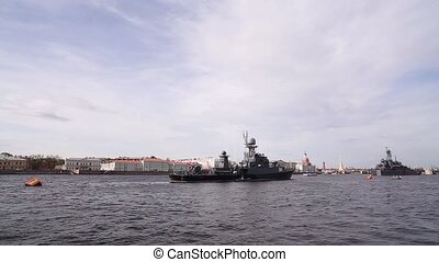 St. Petersburg. Warships On The Neva River