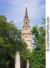 St Philip Church in Charleston - St Phillip's church with...