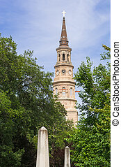 St Phillip's church with steeple in Charleston SC