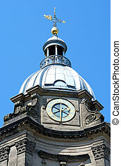 View of St Philips Cathedral clock tower, Birmingham, England, UK, Western Europe.
