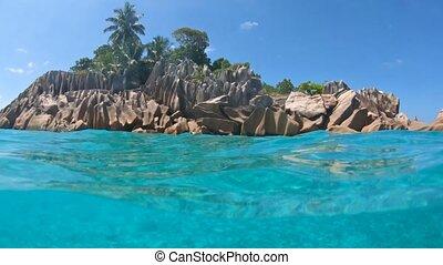St. Pierre Island Seychelles split view - Split view of...