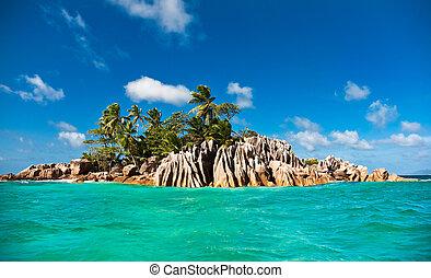 Tropical island of St. Pierre , Praslin , Seychelles, Indian Ocean
