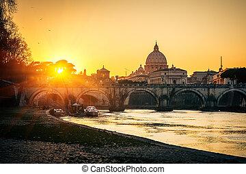 st. piotr, katedra, na, zachód słońca, rzym