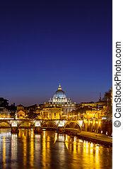 st. piotr, katedra, w nocy, rzym