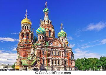 st., ryssland, frälsare, kyrka, petersburg, blod, spill