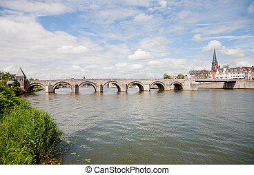 St. Servaas bridge over the river Maas in Maastricht