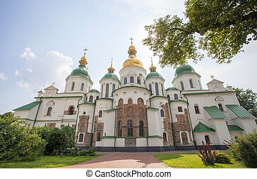 Facade of St. Sophia Cathedral in Kiev in summertime.