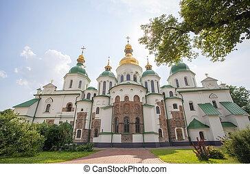 St. Sophia Cathedral in Kiev. - Facade of St. Sophia...