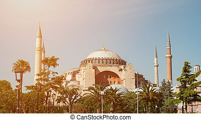 St. Sophia Cathedral Museum in Istanbul in clear weather. Hagia Sophia. Aya Sophia