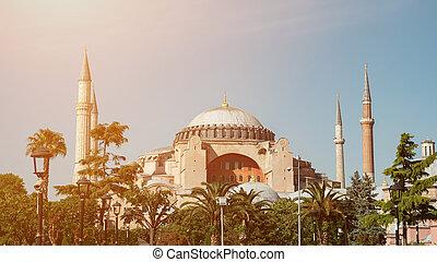 St. Sophia Cathedral Museum in Istanbul in clear weather. Hagia Sophia. Aya Sophia