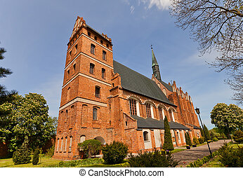 Church of Our Lady of Czestochowa and St. Stanislaus (circa 1521) in Swiecie town, Poland. Erected in XVI c., destroyed during WWII, reconstructed in 1988. Citizens call this church Stara Fara