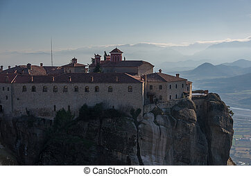 "St Stefan Monastery in Meteora rocks, meaning ""suspended into air"" in Trikala, Greece"