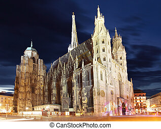 st., stephan, cattedrale, in, vienna, a, crepuscolo, austria