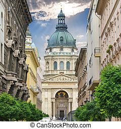 Saint Stephen`s Basilica. Zrinyi Utca street in Budapest. Hungary.