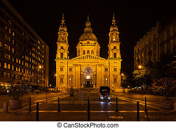 St. Stephen's Basilica at Night in Budapest