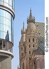 St Stephens Cathedral and Haas Haus Vienna,Austria