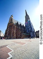 St Stephens cathedral in Vienna, Austria. Wide angle and...