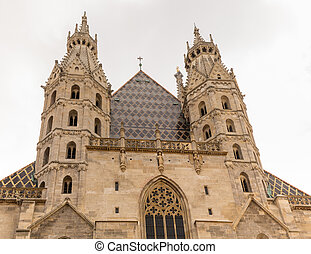 St Stephens Cathedral in Vienna - Towers and spires of St...