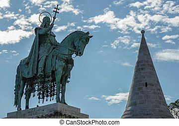 St Stephens statue at Fishermans Bastion Budapest