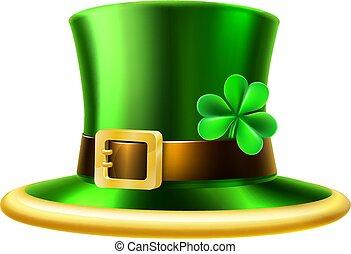st, trifoglio, patricks, verde, cappello gnomo, giorno