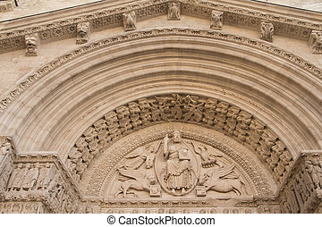 St Trophime Portal Detail (Arles, Provence, France). Masterpiece of the early Middle Ages.
