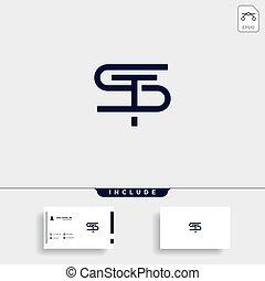 st., ts, 単純である, ベクトル, デザイン, s, t, ロゴ, 手紙