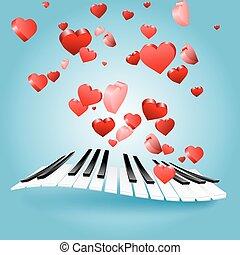 st., valentina, amore, scheda, con, cuori, e, pianoforte, keys., musica, di, love.