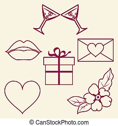 St. Valentine Day collection of line signs. Vector...