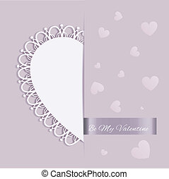 St Valentine Day Heart Shape Greeting Card on Purple Color...