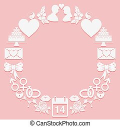 St. Valentine Day round frame icons on a pink background....